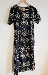 April Cornell 90s vintage long navy dress